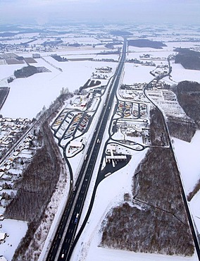 Aerial photo, Rhynern, A2 Autobahn, highway petrol station and rest stop, snow-covered, Hamm, Ruhr area, North Rhine-Westphalia, Germany, Europe
