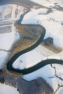 Aerial view, snow, Lippe river, Clostern, Olfen, Ruhrgebiet area, North Rhine-Westphalia, Germany, Europe