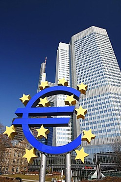 Euro currency sign, Euro symbol in front of the European Central Bank ECB in Frankfurt, Hesse, Germany, Europe