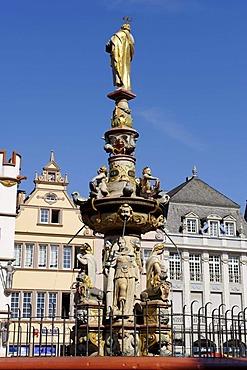 Market fountain by H.R. Hoffmann, Hauptmarkt, main square, Trier, Rhineland-Palatinate, Germany, Europe