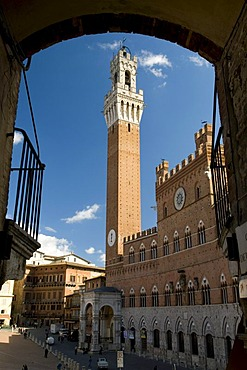 Palazzo Pubblico un Torre del Mangia on Piazza del Campo, Siena, Unesco World Heritage Site, Tuscany, Italy, Europe