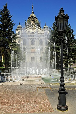 Fountain in front of the National Theater in the historic town of Kosice, Slovakia, Eastern Europe