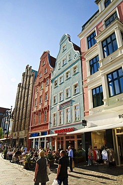 Shopping street Kroepeliner Strasse, pedestrian area, old town, Hanseatic city of Rostock, Mecklenburg-Western Pomerania, Germany, Europe