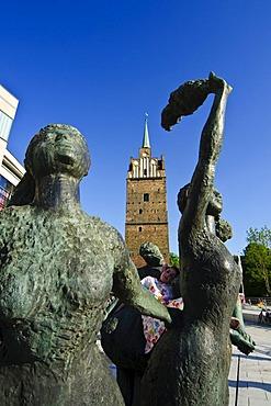 Sculpture, Kroepeliner Tor gate tower, old town, Hanseatic city of Rostock, Mecklenburg-Western Pomerania, Germany, Europe