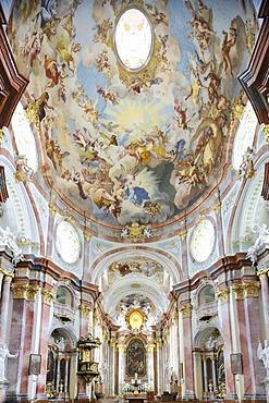 Interior of the abbey church with frescoes by Paul Troger, Benedictine monastery Stift Altenburg, Altenburg, Waldviertel region, Lower Austria, Austria, Europe