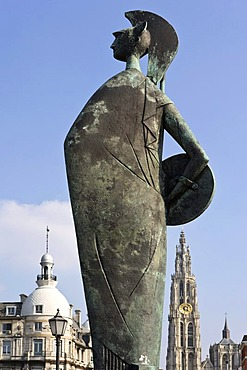 Statue of the goddess Minerva, Wandelterras Zuid promenade, with the Onze-Lieve-Vrouwekathedraal Cathedral of Our Lady, Antwerp, Flanders, Belgium, Europe
