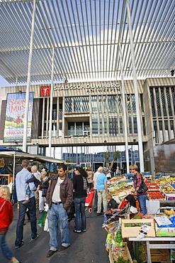 Flea market in front of Stadsschouwburg, Antwerp, Flanders, Belgium, Europe