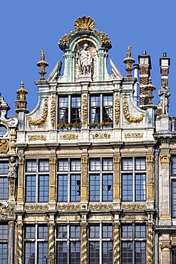 Facades and gables of the guildhalls on Grote Markt, Grand Place, Brussels, Belgium, Europe
