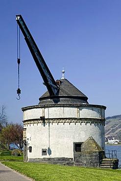 Old crane on the Rhine promenade, Andernach, Rhineland-Palatinate, Germany, Europe
