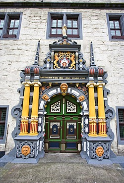 The town hall in the Weser Renaissance style in Hannoversch Muenden, Hesse, Germany, Europe