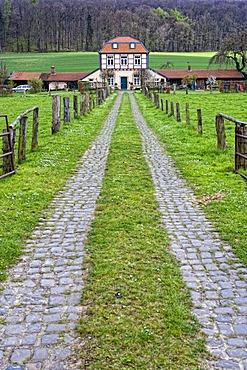 The Kutscherhaus coachmen's cottage on the Laves-Kulturpfad cultural trail in Derneburg in Hildesheim, Lower Saxony, Germany, Europe