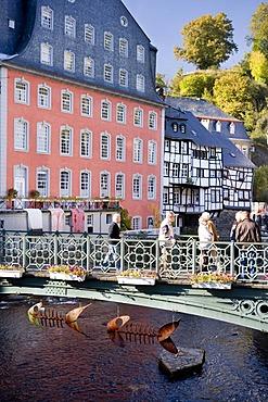 Townscape of Monschau on the Rur river, Eifel, North Rhine-Westphalia, Germany, Europa
