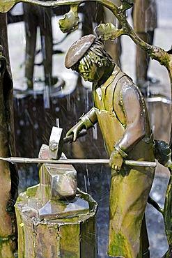 """""""Brunnen des Handwerks"""", fountain of crafts, Trier, Rhineland-Palatinate, Germany, Europe"""