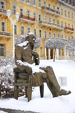 Goethe memorial in front of the Goethe Museum, wintery, Marianske Lazne, Czech Republic, Europe