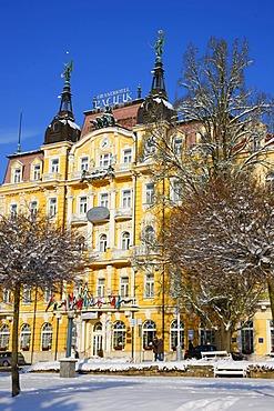 Hotel facade, wintery, Marianske Lazne, Czech Republic, Europe