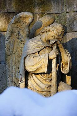 Angel, tomb, cemetery, wintery, Marianske Lazne, Czech Republic, Europe