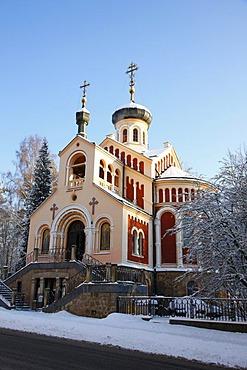 Russian-Orthodox church, wintry, wintery, Marianske Lazne, Czech Republic, Europe