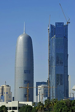 Skyline of Doha, Al-Thani Tower, Emirate of Qatar, Middle East, Asia