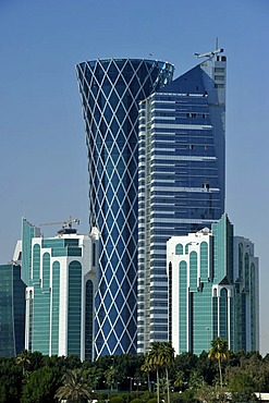 Skyline of Doha with Peace Towers, Tornado Tower, Emirate of Qatar, Middle East, Asia