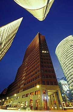 Skyscrapers on Potsdamer Platz square, the Chrysler Building, the Sony Center, Deutsche Bahn Tower and Beisheim Center with Ritz Carlton Hotel, Tiergarten district, Berlin, Germany, Europe