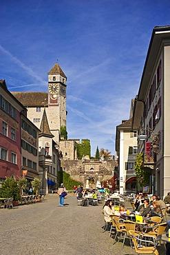 Main square, castle steps, castle, Rapperswil, Sankt Gallen, Switzerland, Europe