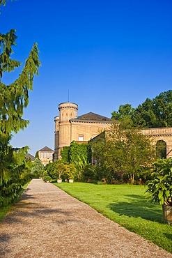 Botanical Garden with Torbogengebaeude of the orangery, castle gardens, Karlsruhe, Baden-Wuerttemberg, Germany, Europe