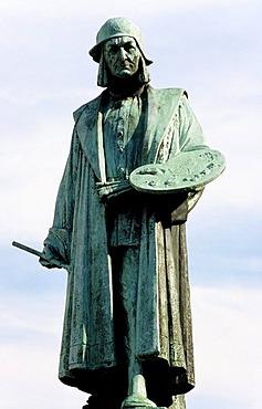 Statue of the painter Hieronymus Bosch, 's-Hertogenbosch or Den Bosch, Noord-Brabant, Netherlands, Europe