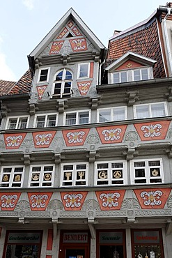 Historic half-timbered house on the market, ornamental facade, Quedlinburg, Harz, Saxony-Anhalt, Germany, Europe
