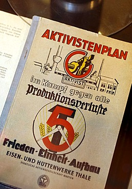 Political pamphlet against production losses, 5-year plan of the GDR, Huettenmuseum Thale ironworks museum, Thale, Harz, Saxony-Anhalt, Germany, Europe