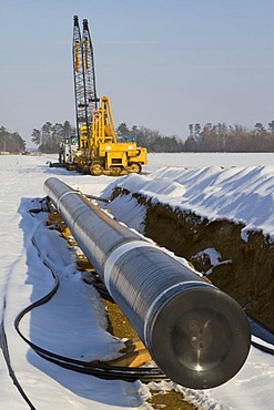Pipes of a pipeline in front of tracked vehicles for laying a pipeline, Marchfeld, Lower Austria, Austria, Europe