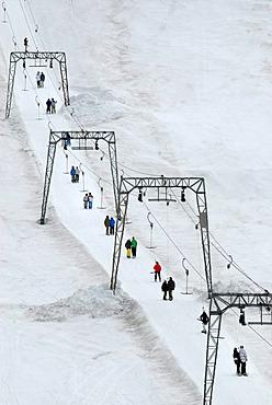 Ski lift in the Folgefonn summer ski center AS, Folgefonna glacier, Norway, Europe