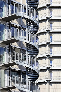 Spiral staircase on a facade in the city centre of Frankfurt am Main, Hesse, Germany, Europe