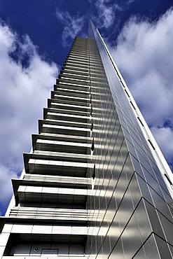 The aluminium and glass clad facade of the Pollux office tower, 130 metres high, 33 storeys, in Frankfurt Forum, the Dresdner Bank being one of its main tenants, Frankfurt am Main, Hesse, Germany, Europe