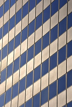 Aluminum and glass facade of a skyscraper in the financial district, Frankfurt am Main, Hesse, Germany, Europe
