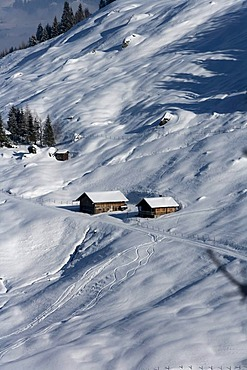 Lonely, snowy farm in the mountains, Pankrazberg, Zillertal, Tyrol, Austria, Europe