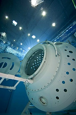 A module of a space station reproduction in a diving basin, European Space Agency, ESA, European Astronaut Center, EAC, Cologne, North Rhine-Westphalia, Germany, Europe