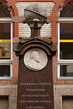 Memorial of Heinrich von Stephan, 1885-1897 founder of the World Postal Union, in front of the main post office, Mecklenburgstrasse, Schwerin, Mecklenburg-Western Pomerania, Germany, Europe
