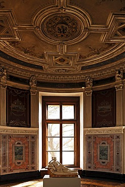 """Round tower cabinet, the so-called """"Leanderzimmer"""" in the Schweriner Schloss castle, built from 1845 to 1857, romantic historicism, Lennestrasse 1, Schwerin, Mecklenburg-Western Pomerania, Germany, Europe"""