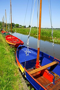 Colorful boats in the canal, landscape between Gouda, Oudewater and Reeuwijk, Reeuwijkse Plassen, Zuid-Holland, South Holland, the Netherlands, Europe