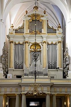 The organ in the Saint Petri church in Malmo, Sweden, Europe
