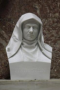 Bust of Edith Stein, Walhalla temple, Donaustauf, Bavaria, Germany, Europe