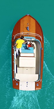 Classic motor boat from above