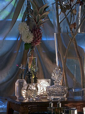 Glass flasks in an appealing atmosphere