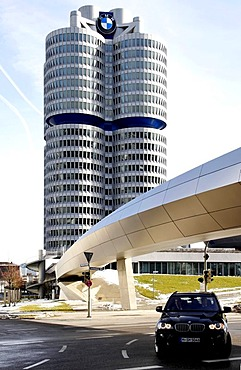 BMW Headquarters, BMW Tower seen from the BMW World Complex, Munich, Upper Bavaria, Germany, Europe