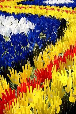Show of hands, symbol for Australia's black and white reconciliation, Australia Day, Perth, Western Australia, Australia