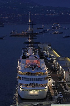 Seabourn Legend cruise ship at night in the harbor of Monaco, Principality of Monaco, Cote d'Azur, Europe