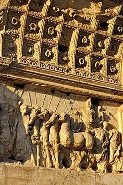 Relief on the Arch of Titus, Forum Romanum, Roman Forum, Rome, Lazio, Italy, EuropeEurope