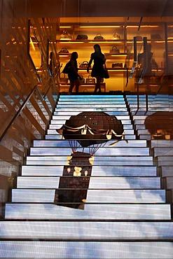 Video effect on the steps in fashion store and jeweller's Louis Vuitton, Via dei Condotti, Rome, Lazio, Italy, Europe