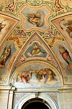 Ceiling frescoes in the portico of the Loggia delle Benedizioni, San Giovanni Basilica in Laterano, Rome, Lazio, Italy, Europe