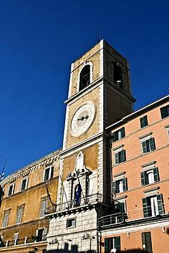 Clock tower in Piazza Plebiscito or Piazza del Papa, Ancona, Marche, Italy, Europe